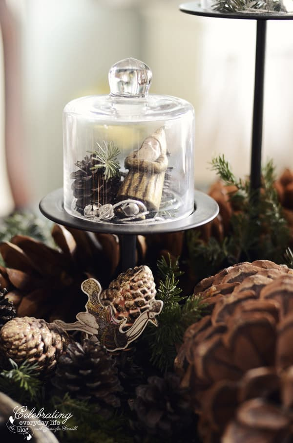 Mini cloche with santa ornament and pinecones
