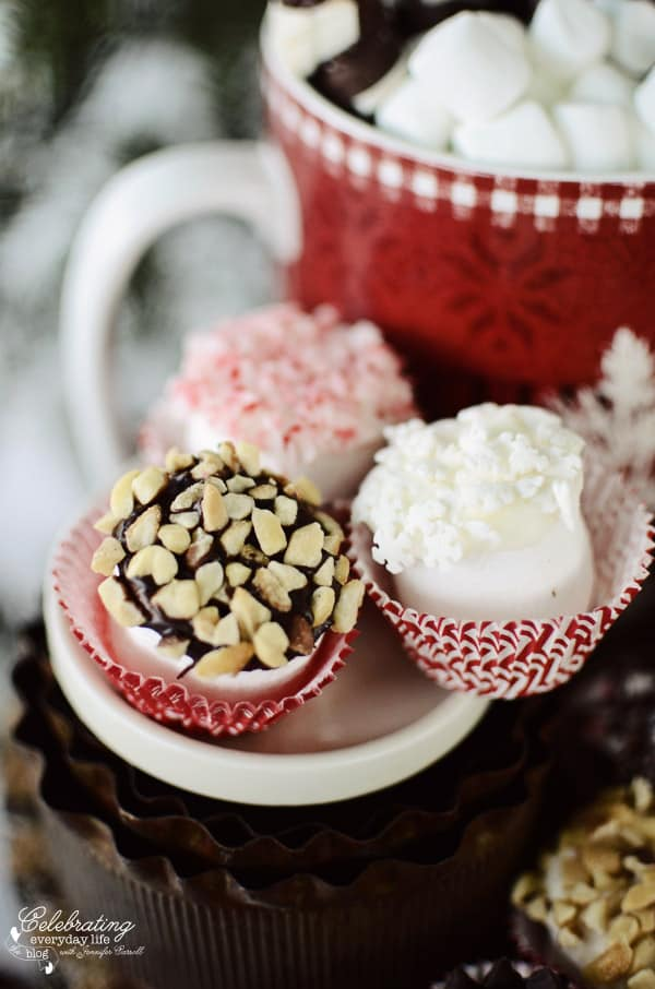 chocolate dipped marshmallows topped with chopped nuts, crushed peppermint topped marshmallows, mini snowflake white chocolate dipped marshmallows