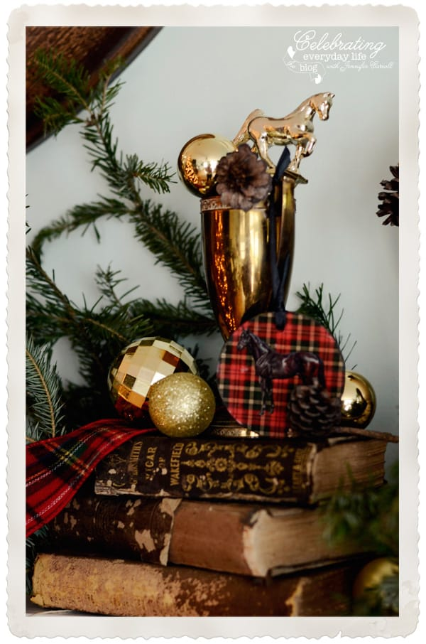 Gold trophy with plaid ribbon, gold trophy with pinecones and ornaments, plaid horse ornament