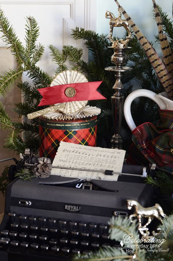 vintage Royal Typewriter, paper medallions, horse trophies