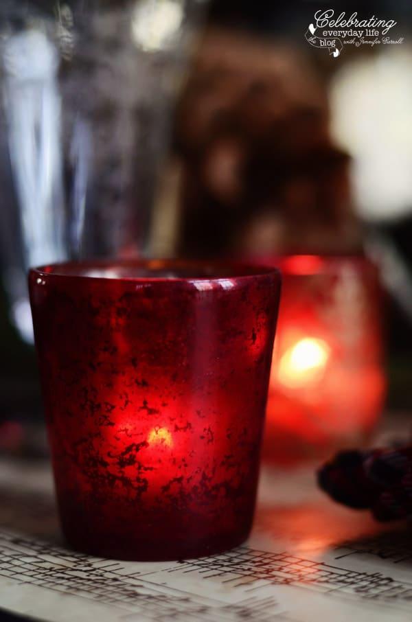 Red mercury glass votive