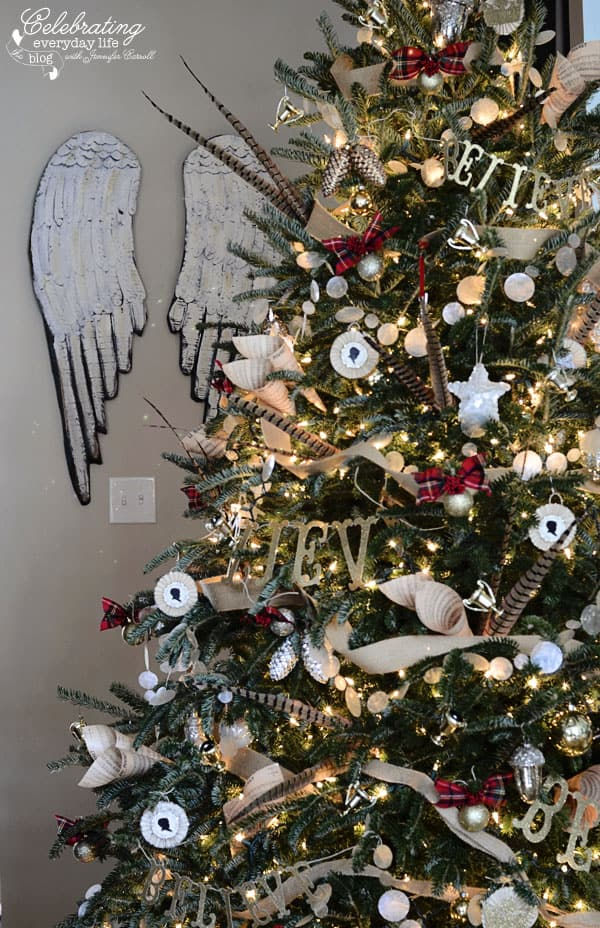 Angel Wings, Hunt Country Inspired Christmas Tree, Ralph Lauren Inspired Christmas Tree, Plaid Christmas Tree Decorations, Burlap Decorations, Believe, Pheasant Feather Christmas Tree, Capiz Shell Garland, Burlap Ribbon Garland