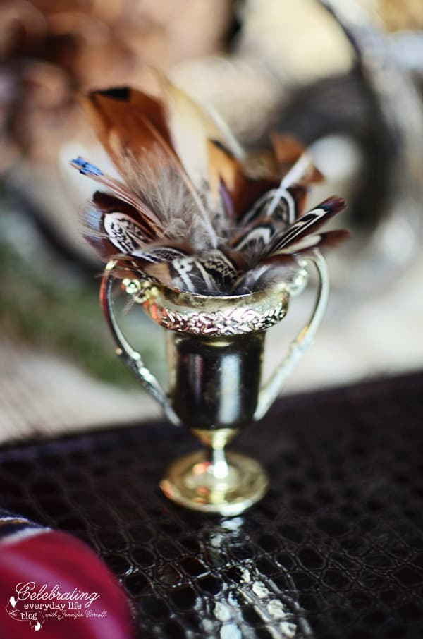 mini Trophy with pheasant feathers