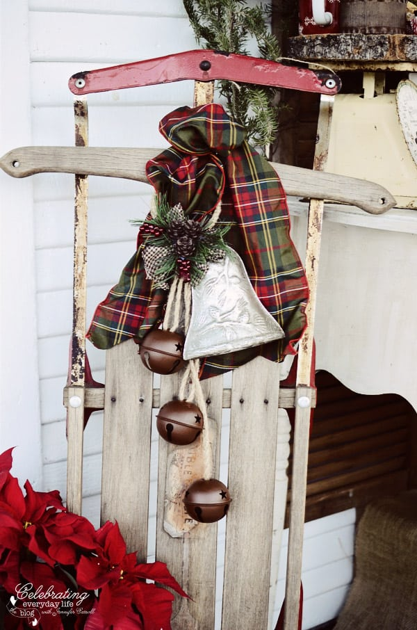 antique sled with jingle bells