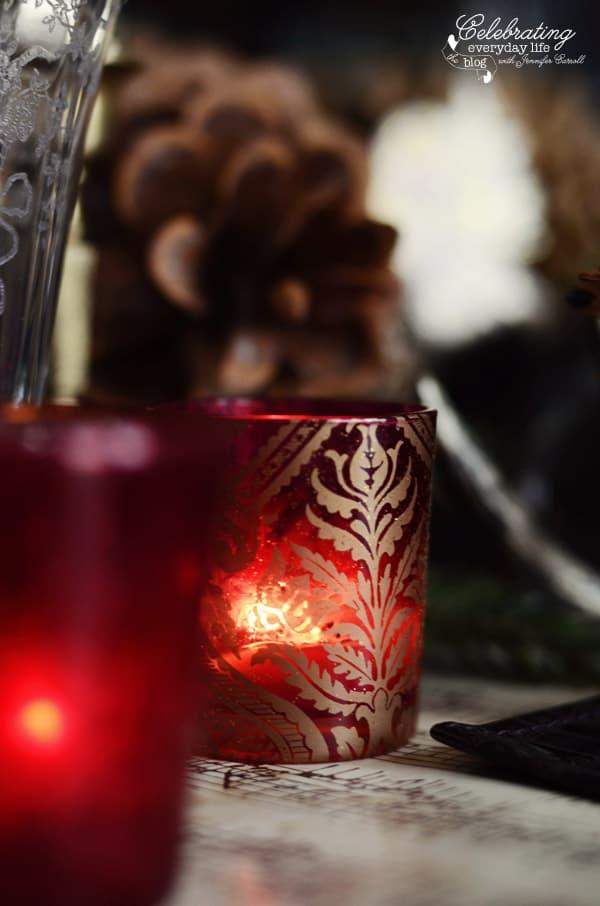 red damask votive