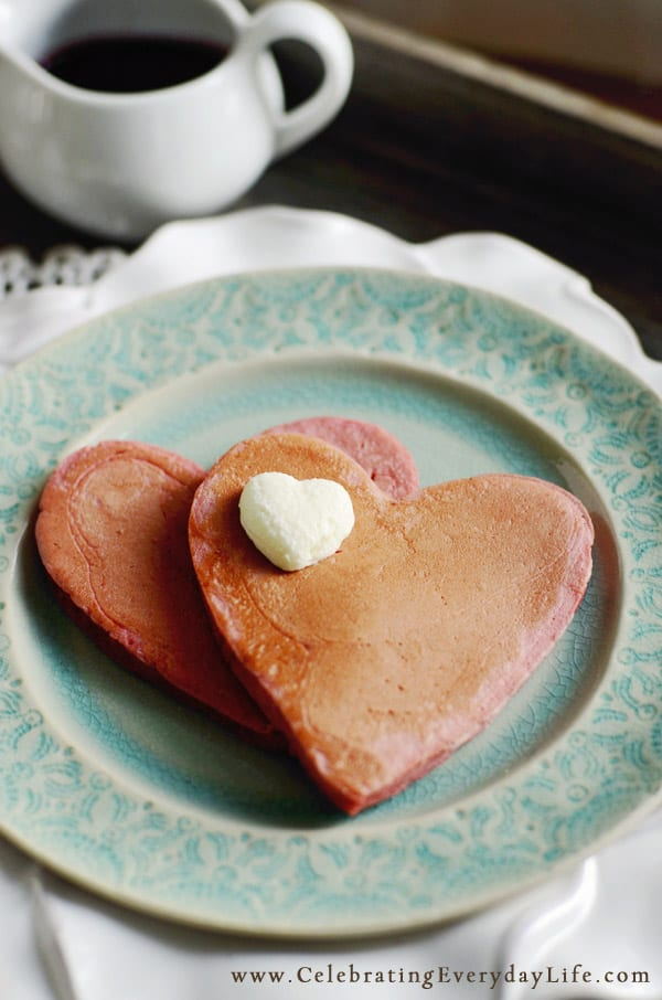 Valentines Day Recipes, Heart Shaped Pancakes, Strawberry Pancakes