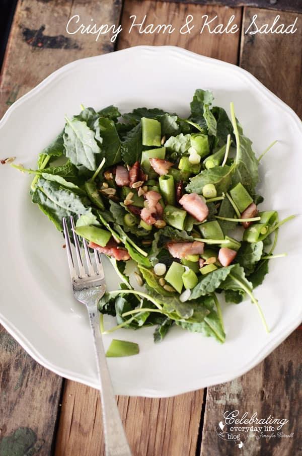 Crispy Ham & Kale Salad, Quick & Easy Healthy Recipe