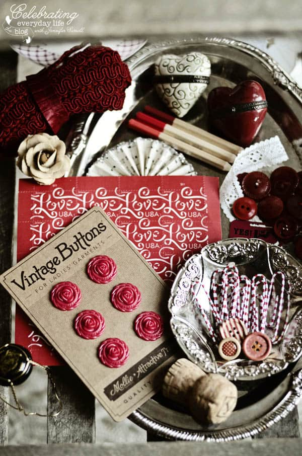 Red Color Story, Vintage Valentine, Love stamps, red flower buttons, red heart pill box, red ribbon