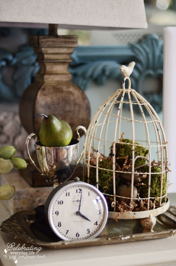 Miss Mustard Seed clock, silver trophy, cream birdcage, silver tray