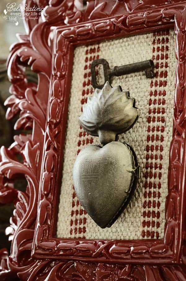 Ornate Red Lacquer Frame, red striped burlap ribbon, jute webbing with red stripe, sacred heart locket, antique key, Key to my heart craft