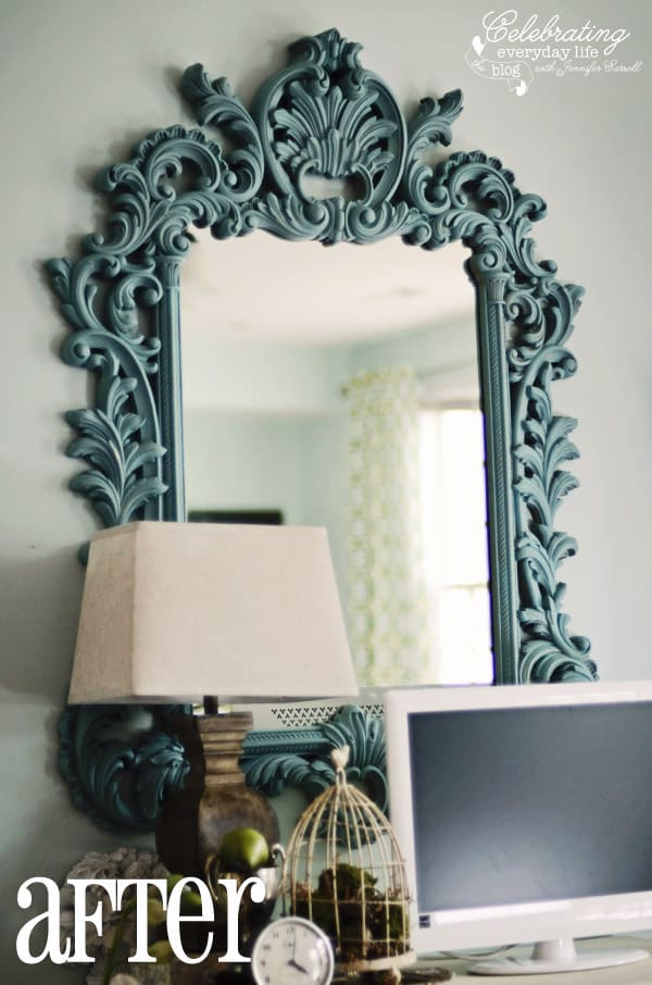 annie sloan chalk paint provence, ornate turquoise mirror