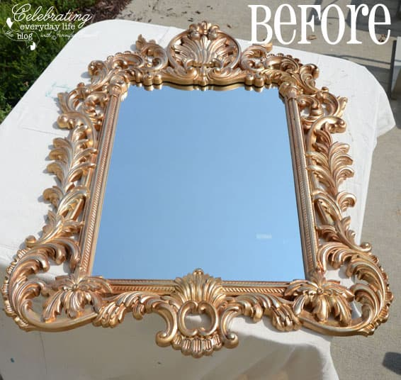 {Turquoise Mirror and Antique Chest Makeover} Painting with Annie Sloan Chalk Paint, Mirror BEFORE