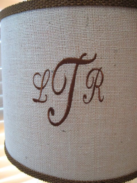 monogrammed Lampshade from Southern Hospitality blog