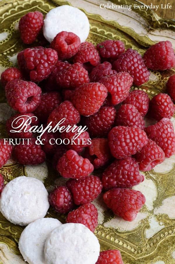 Raspberries with Raspeberry Button Cookies