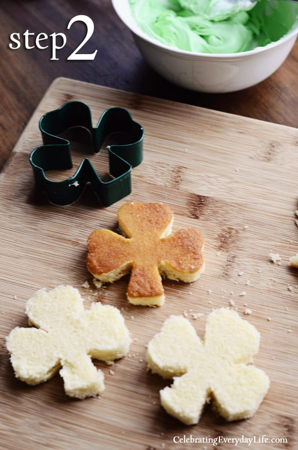 Pound Cake Cutout, St Patrick's Day, St Patrick's Day Recipe, easy Petits Fours recipe, petits fours, shamrock cookie cutter