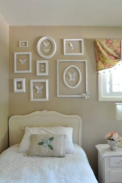 Framed Butterfly Artwork, tan and white bedroom, Jennifer Rizzo.com