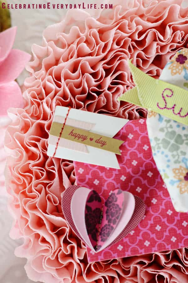 Happy Heart Day paper flag, dimensional paper hearts