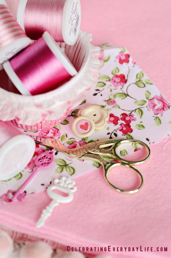 Heart Buttons, Pink Color Story, Pink Color Board, Pink Sewing Notions, Pink Threads, pink key stickers, gold scissors