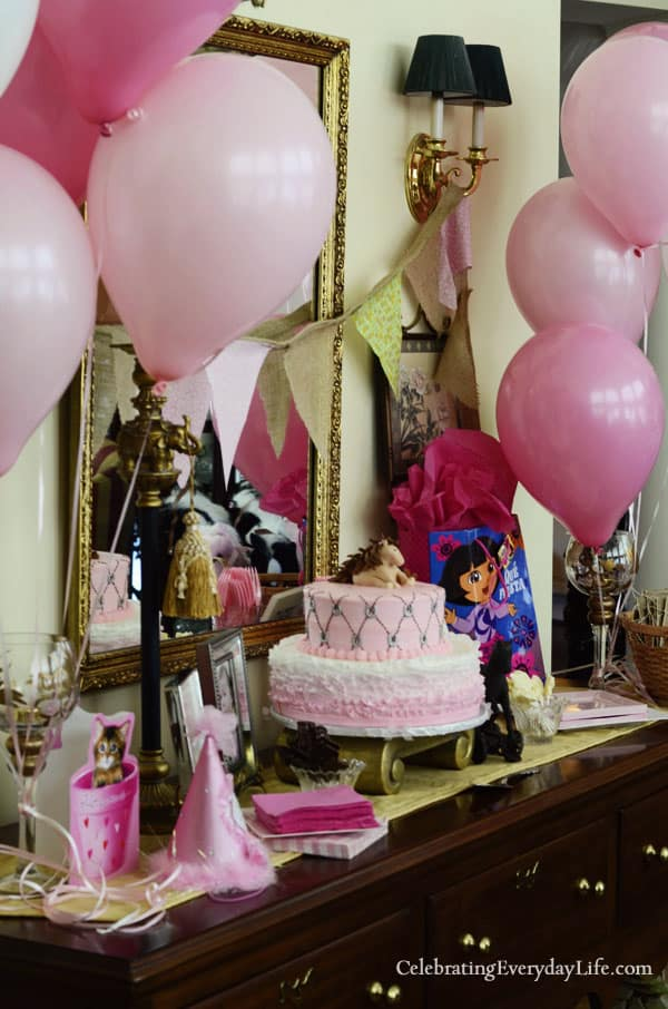 Pony Party Cake Table, Pink balloons