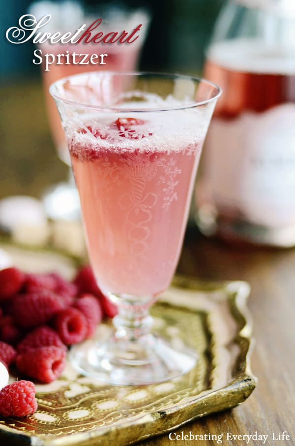 champagne cocktail recipe, champagne spritzer, raspberry champagne cocktail, raspberry spritzer