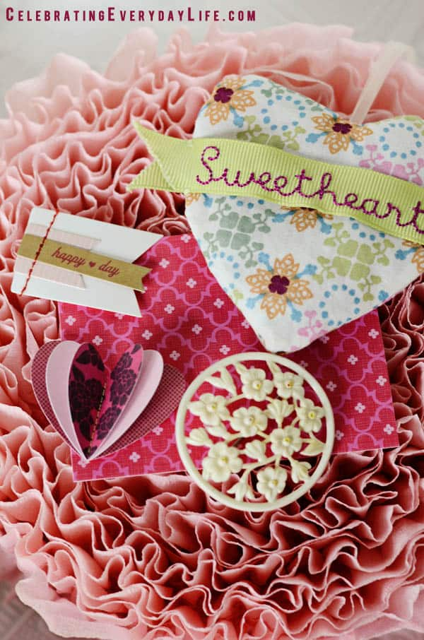 Sweetheart sachet, Happy Heart Day Flag, vintage pin, ruffled crepe paperGroup
