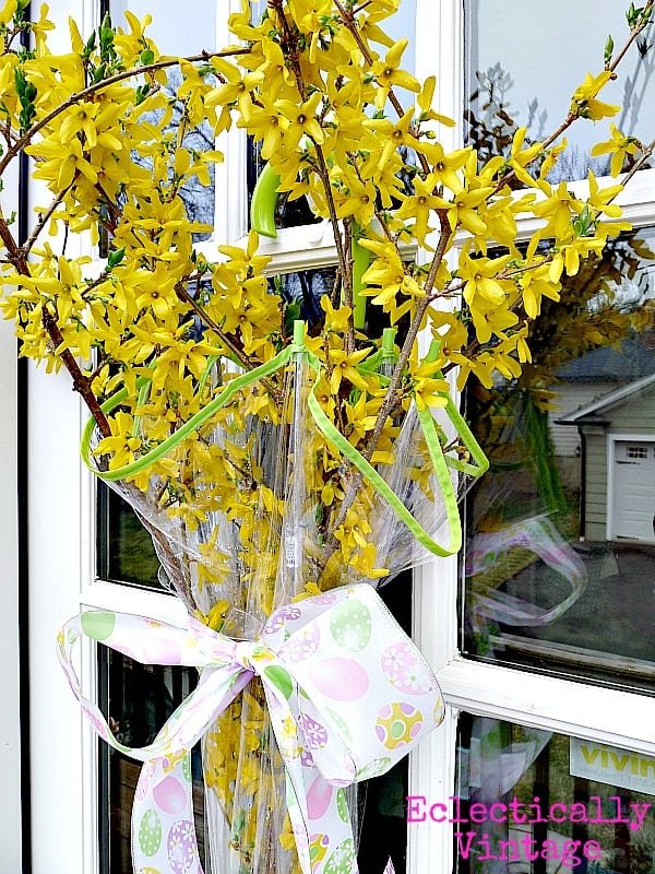 Umbrella with Forsythia Wreath