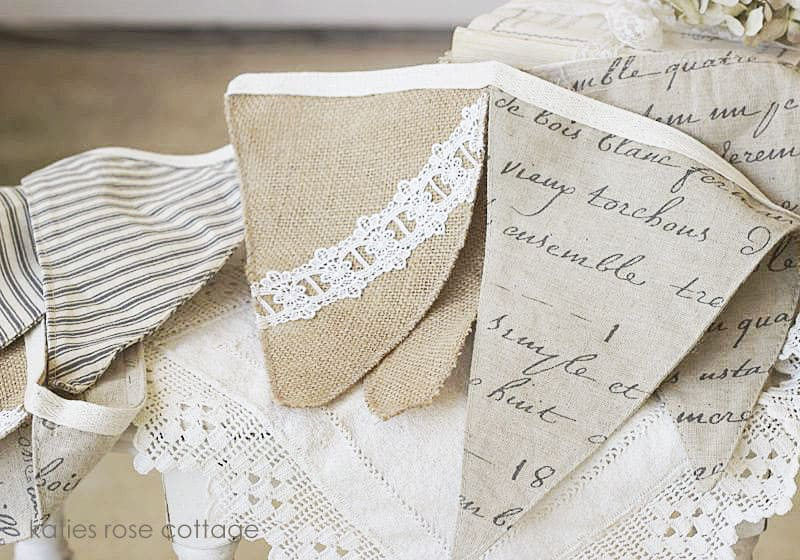 Burlap, Ticking & French Script Flag Banner from Katie's Rose Cottage Designs