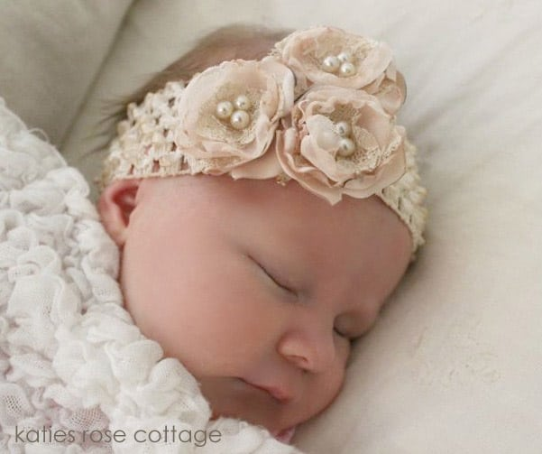 Three Rose Headband from Katie's Rose Cottage Designs