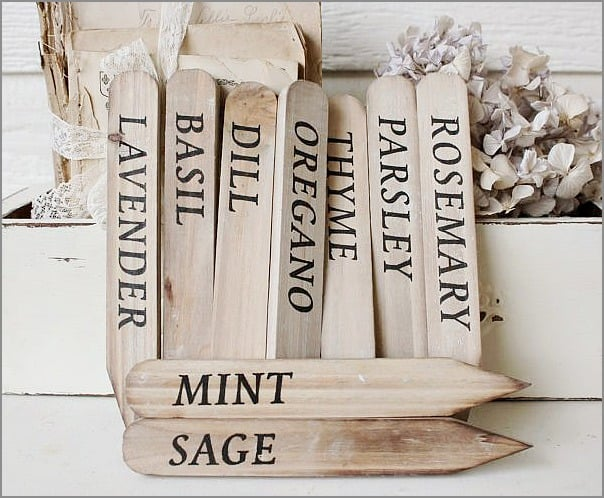 herb plant stakes from Katie's Rose Cottage Designs