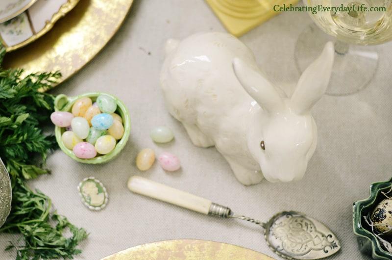 Procelain Bunny, Jelly Beans, Vintage Pie Server