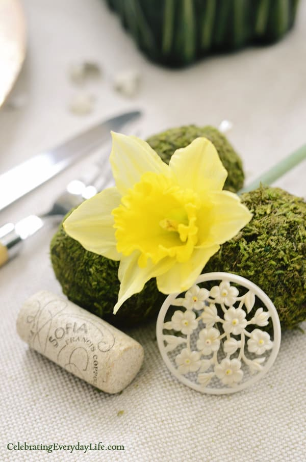 Yellow Daffodil, moss balls, vintage brooch, sofia wine cork