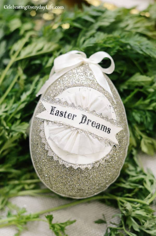 Easter Dream Glitter Egg, Katie's Rose Cottage Designs