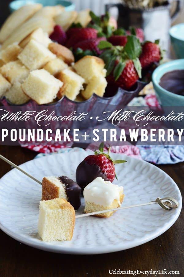 Chocolate Fondue recipe, dessert fondue, strawberry fondue, pound cake fondue, madeleine fondue, white chocolate fondue