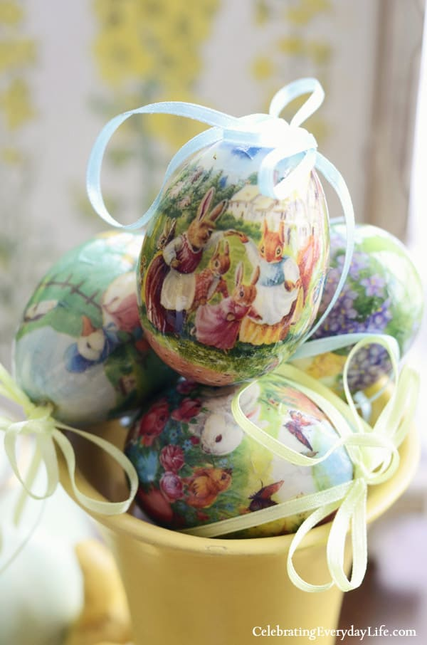 vintage inspired decoupage easter eggs, world market easter eggs