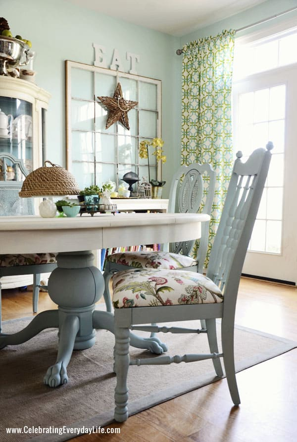 "Dining room chair in Annie Sloan Chalk Paint in Duck Egg and Chair cushion in P. Kaufmann ""Brissac"" in Jewel"