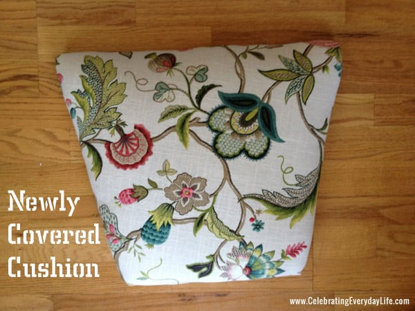 Covered Cushion from how to recover a dining room chair project