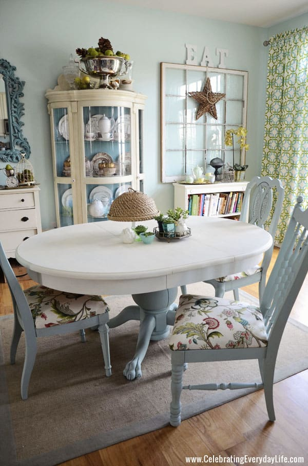 How To Save Tired Dining Room Chairs with Chalk Paint  : DiningAreaMakeover1 from celebratingeverydaylife.com size 600 x 906 jpeg 159kB