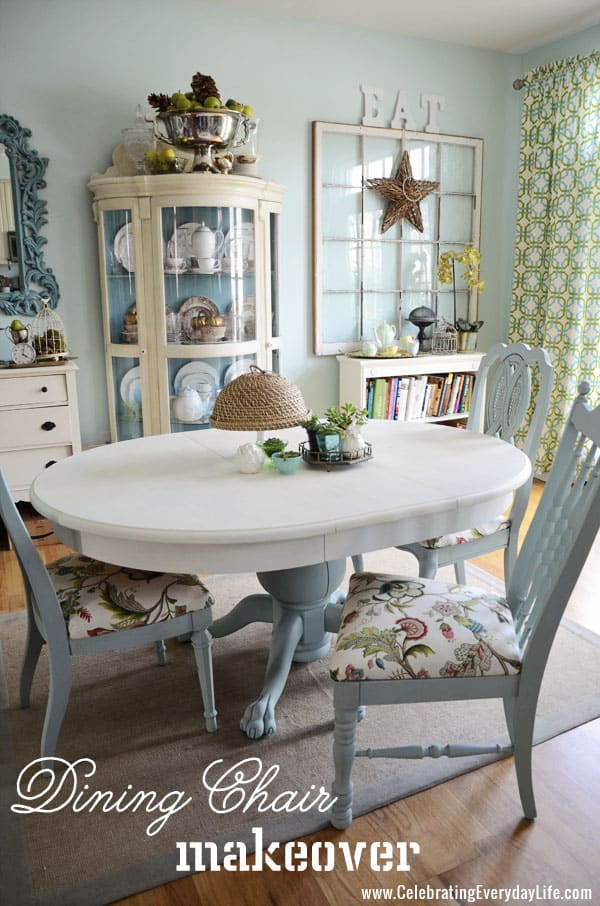 how to recover a dining room chair easily - celebrating everyday