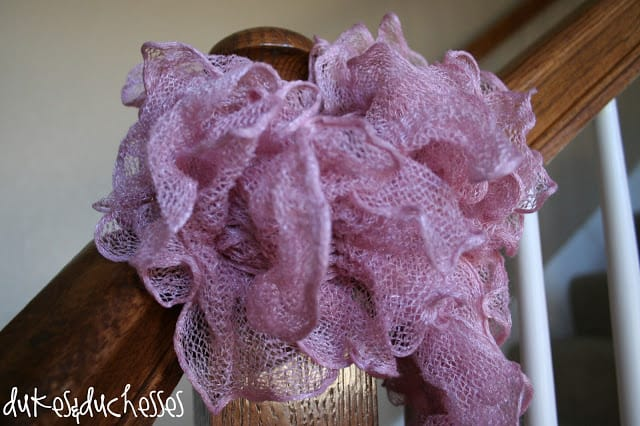 Ruffled Knit Scarf from Dukes and Duchesses blog