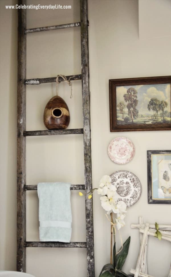 weathered Ladder, Transferware plates, Decorating a Powder Room, Wall Collage, Celebrating Everyday Life with Jennifer Carroll