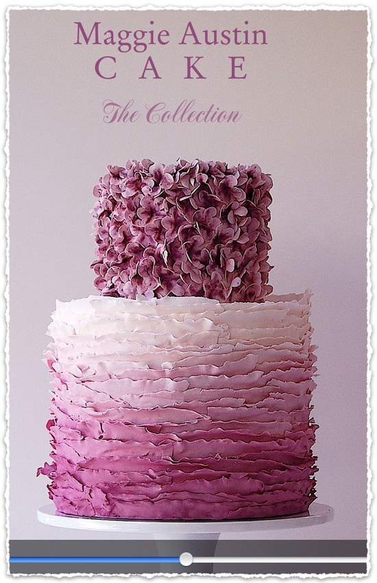 Maggie Austin Wedding Cake from the May/June 2013 Celebrating Everyday Life with Jennifer Carroll, Frilled Ruffle Ombre Wedding Cake, Purple and Lilac Wedding Cake, Ombre Cake