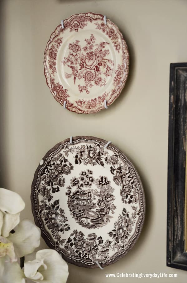 Transferware plates, Decorating a Powder Room, Wall Collage