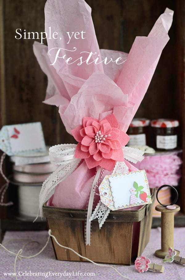 Spring Wrapping Ideas, Tissue Paper, Martha Stewart Craft Tags, Pink Ribbon, Lace Ribbon