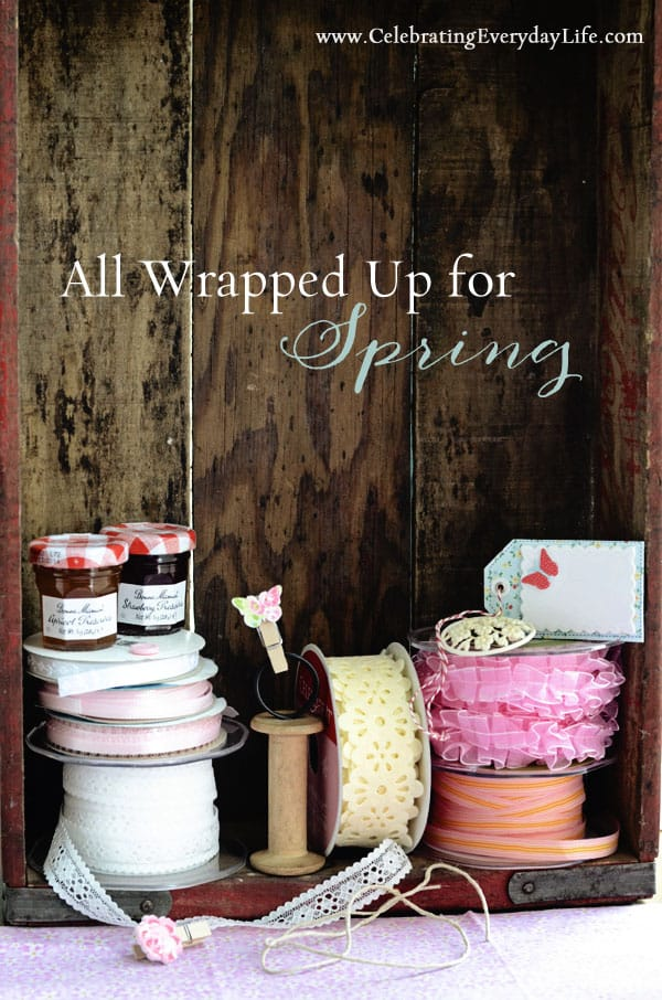 ribbons and tags for pretty Spring wrapping and Spring projects