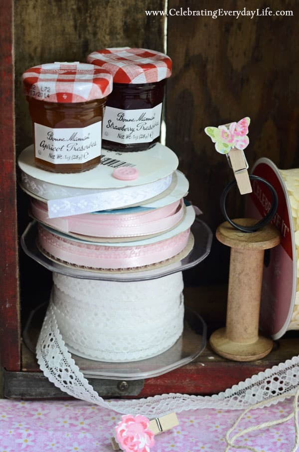 Lace Ribbon, Pink Ribbons, mini Jam jars, mini clothespin with butterfly