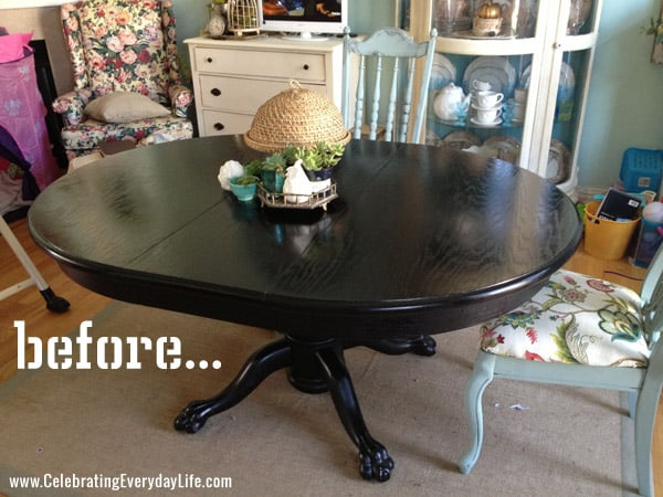 How To Save Tired Dining Room Chairs with Chalk Paint  : TableBefore from celebratingeverydaylife.com size 600 x 450 jpeg 118kB