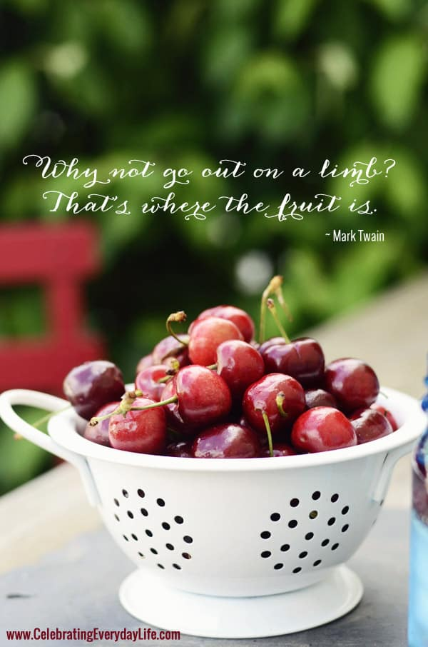 Why not go out on a limb that's where all the fruit is quote, mark twain quote, bowl of cherries, inspiring quote