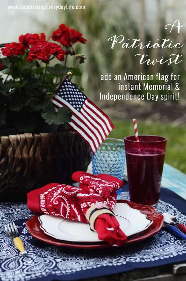 Summer Entertaining, Bandana Placesetting Inspiration by Celebrating Everyday Life, Fourth of July placesetting idea, Memorial Day placesetting idea