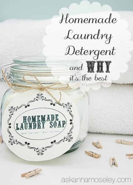 Homemade laundry detergent recipe from Ask Anna