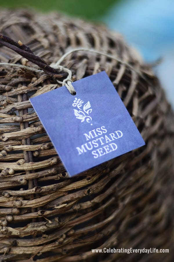 Miss Mustard Seed tag, Wicker Bee Skep